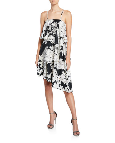 Wild Flower-Print Convertible Asymmetric Ruffle Dress