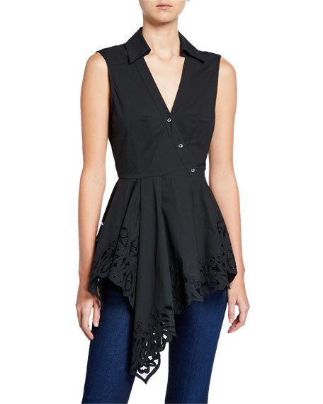 Josie Natori SLEEVELESS COTTON POPLIN ASYMMETRIC LACE HEM TOP