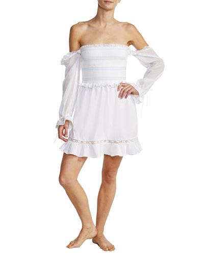 Arcadia Smocked Off-Shoulder Cotton Short Dress