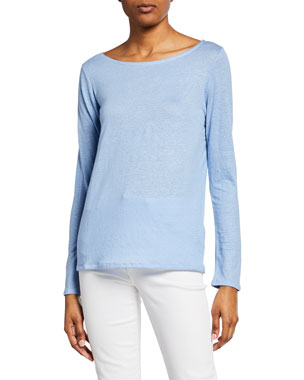 dc960e1ffc7 Majestic Paris for Neiman Marcus Boat-Neck Button-Back Long-Sleeve Stretch-