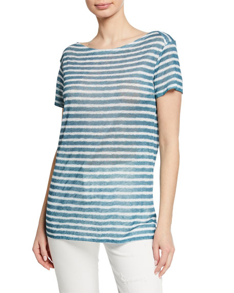 Majestic MARINIERE STRIPED BOAT-NECK SHORT-SLEEVE LINEN TEE