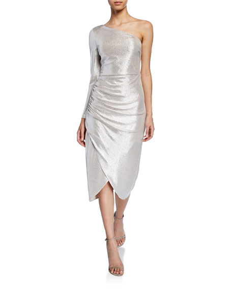 Aidan Mattox Dresses METALLIC FOILED ONE-SHOULDER SLEEVE KNIT DRESS