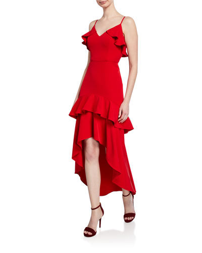 V-Neck Sleeveless High-Low Crepe Flounce Dress