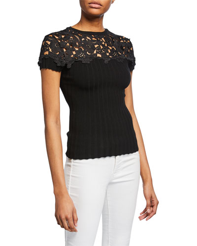 Souffle Short-Sleeve Sweater with Embroidered Yoke