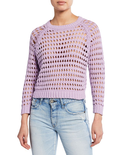 Cameron Open-Stitch Cropped Sweater
