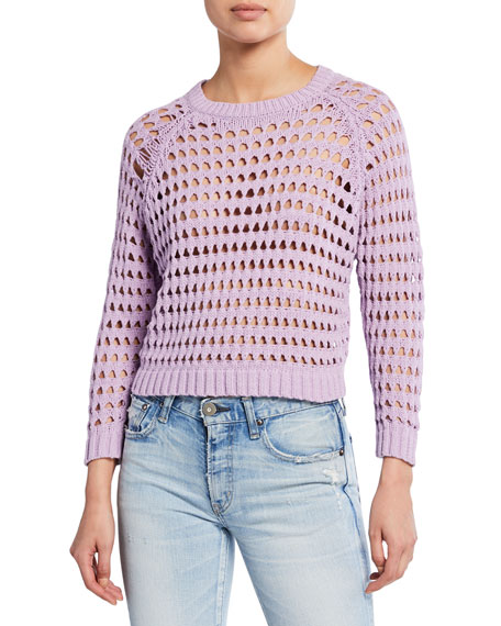 Astr Sweaters CAMERON OPEN-STITCH CROPPED SWEATER