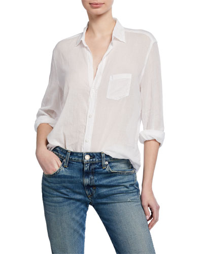 Button-Down Long-Sleeve Cotton Shirt
