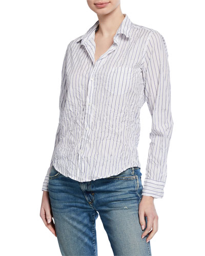 Barry Striped Long-Sleeve Button-Down Cotton Shirt
