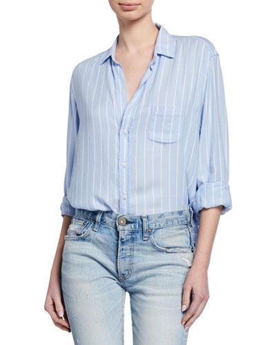 Striped Button-Down Long-Sleeve Shirt  Blue/White
