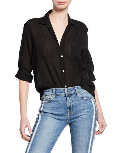Long-Sleeve Button-Down Cotton Shirt  Black