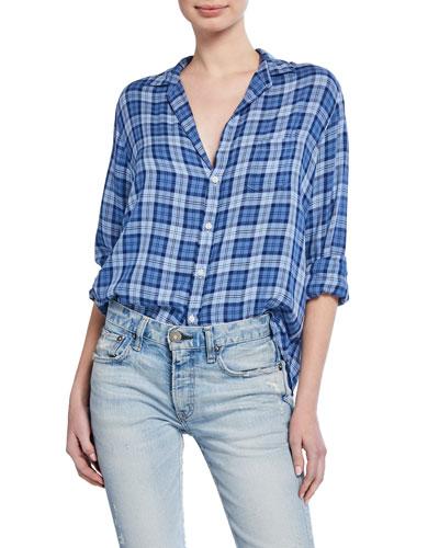 Plaid Long-Sleeve Button-Down Shirt