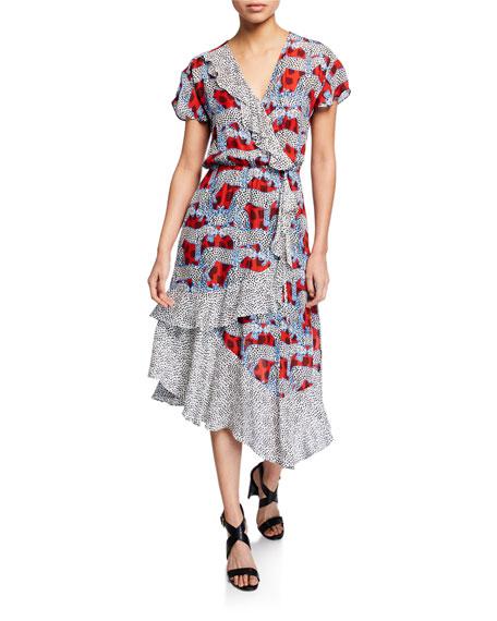 Parker Dresses REINA PRINTED RUFFLE SHORT-SLEEVE COMBO DRESS