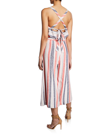 5d81c214120 Image 2 of 2  Angie Striped Linen Wide-Leg Jumpsuit