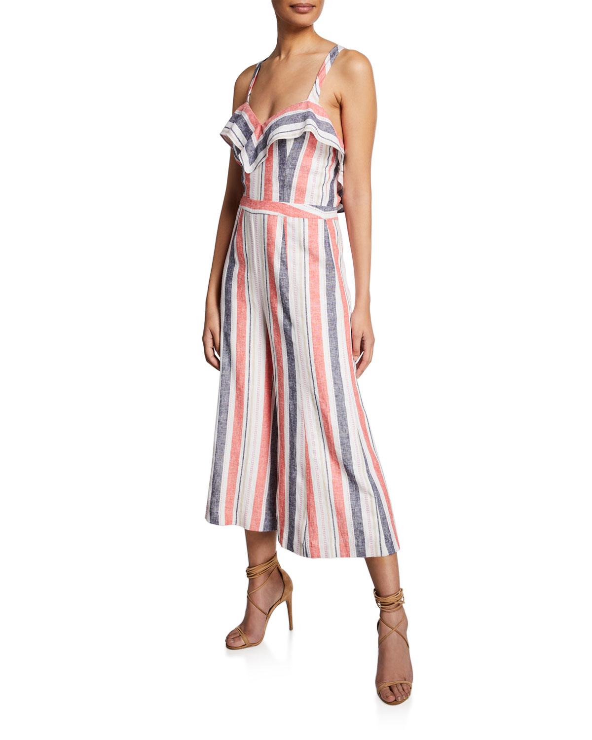 bb7419ad59a Parker Angie Striped Linen Wide-Leg Jumpsuit