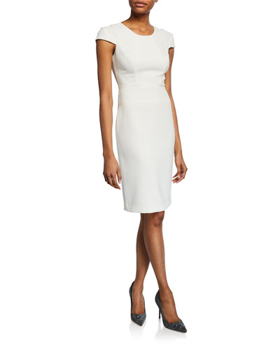 Jewel-Neck Cap-Sleeve Fitted Dress