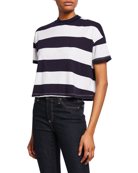Ag Shorts DREW STRIPED CREWNECK SHORT-SLEEVE CROPPED TEE