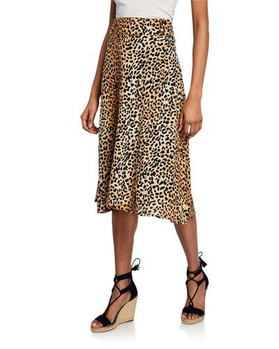 Valois Leopard Midi Skirt