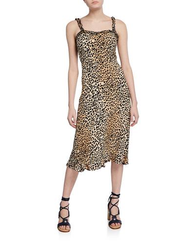 Noemie Leopard-Print Sweetheart Sleeveless Midi Dress