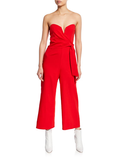 Zion Cropped Strapless Tie-Front Jumpsuit