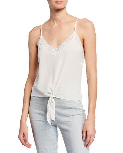 Zoe Sleeveless Tie-Front Silk Top with Lace Trim