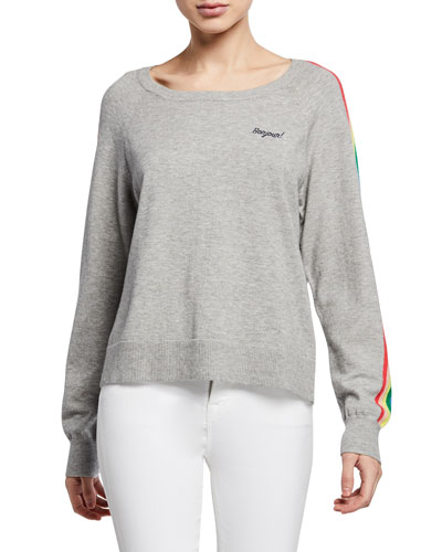 Portland Embroidered Sweater w/ Rainbow Sleeves
