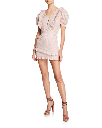 Sutton Puff-Sleeve Ruffle Mini Dress