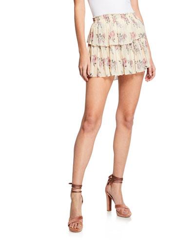 Rose-Print Tiered Ruffle Mini Skirt