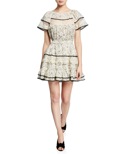 Karen Floral Short-Sleeve Dress w/ Lace