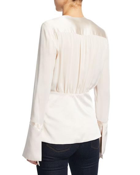 Elie Tahari Zina V-Neck Long-Sleeve Silk Blouse