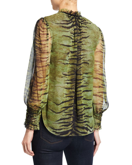 Elie Tahari Zeina Tiger-Stripes V-Neck Blouson-Sleeve Silk Blouse