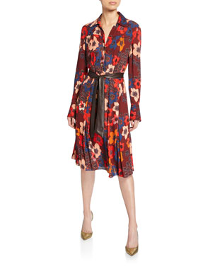 3fa4b56c63b7 Elie Tahari Brinx Floral Long-Sleeve Dress w/ Faux Leather Belt
