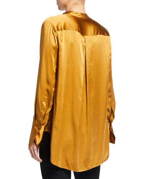 Elie Tahari Blaze V-Neck Long-Sleeve Silk Satin Blouse