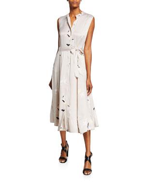 f59ad9d616374 Equipment Clevete Button-Front Sleeveless Midi Silk Dress