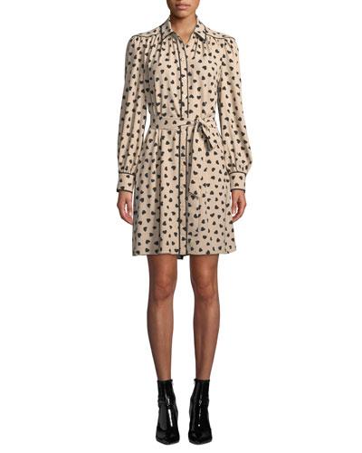 Heartbeat Button-Front Long-Sleeve Silk Mini Dress