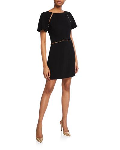 Nina Studded Short-Sleeve Dress