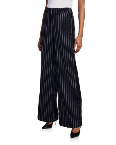 Josie Striped Wide-Leg Sequined Pants