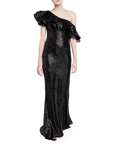 Jaz One-Shoulder Ruffled Sequin Gown