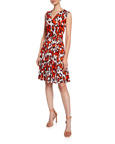 Jasmine Printed Silk Sleeveless Wrap Dress