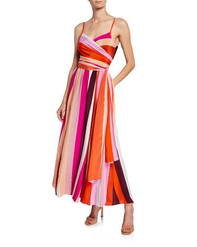 Azalea Striped Silk Maxi Dress
