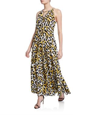 2398b9201f Diane von Furstenberg Sierra Leopard-Print V-Neck Sleeveless Silk Maxi Dress