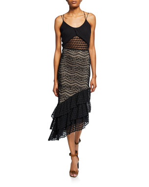c2c03a57e859 Nightcap Clothing Maya Sleeveless Asymmetric Lace Dress