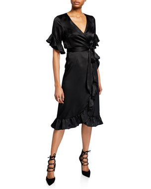 be27227044db Nightcap Clothing Washed Silk Ruffle Wrap Dress