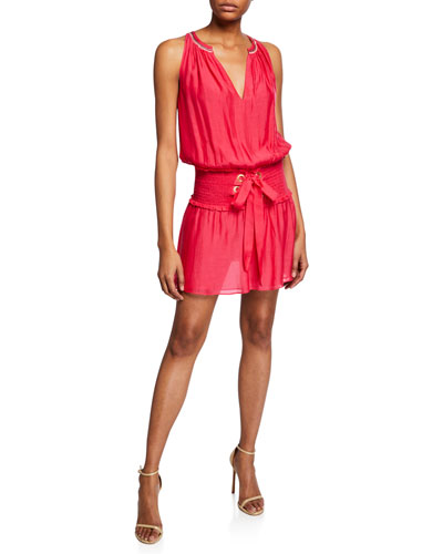 Fayth Smocked Lace-Up Mini Dress