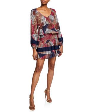 fdf1f696683961 Ramy Brook Michaela Printed Long-Sleeve Mini Dress
