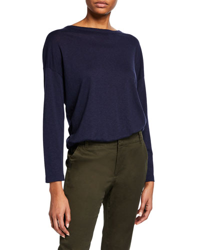 Long-Sleeve Boat-Neck Top