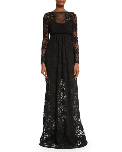 Long-Sleeve Macrame Gown  Black