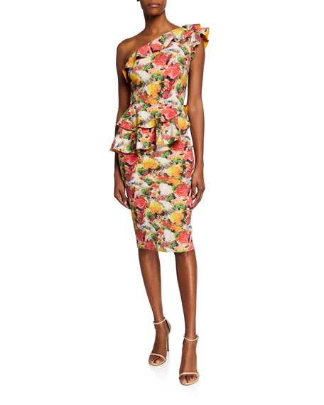 Chiara Boni La Petite Robe Dresses PRINTED RUFFLED ONE-SHOULDER ASYMMETRIC PEPLUM DRESS