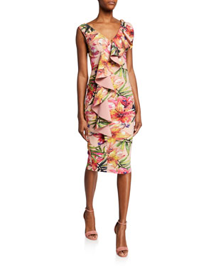 f3c0e5d8fa381 Chiara Boni La Petite Robe Floral-Print V-Neck Sleeveless Asymmetric Ruffle  Dress. Favorite. Quick Look