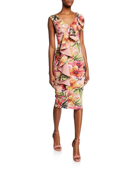 Chiara Boni La Petite Robe Dresses FLORAL-PRINT V-NECK SLEEVELESS ASYMMETRIC RUFFLE DRESS