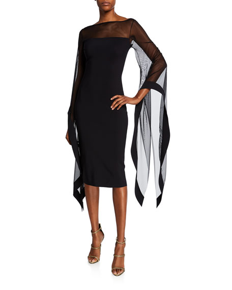 Chiara Boni La Petite Robe Dresses HIGH-NECK SHEER WING-SLEEVE COCKTAIL DRESS